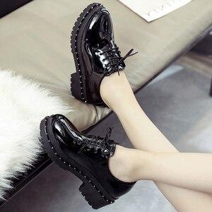 Image 1 - 2018 新スタイル英国リベット小さな靴女子学生韓国語バージョンローファー靴レディースシューズヨーロピアンアメリカンスタイル