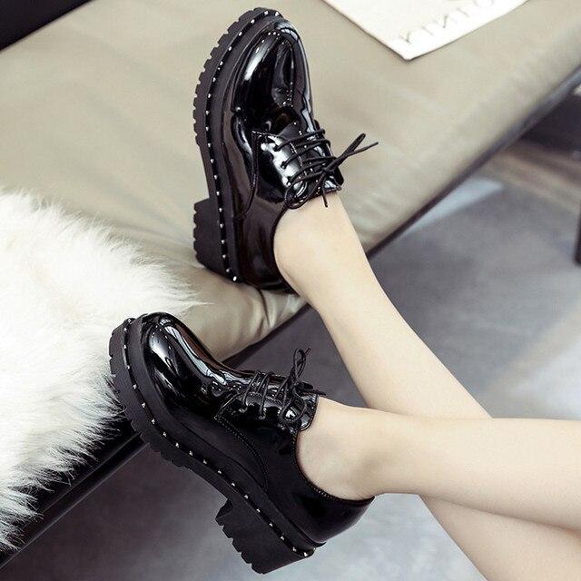 2018 新スタイル英国リベット小さな靴女子学生韓国語バージョンローファー靴レディースシューズヨーロピアンアメリカンスタイル