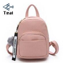 купить 2019 Female Mini Backpacks soft pu leather Students Ball Pendant Shoulder Schoolbags Women Fashion Small Travel Bags по цене 657.17 рублей