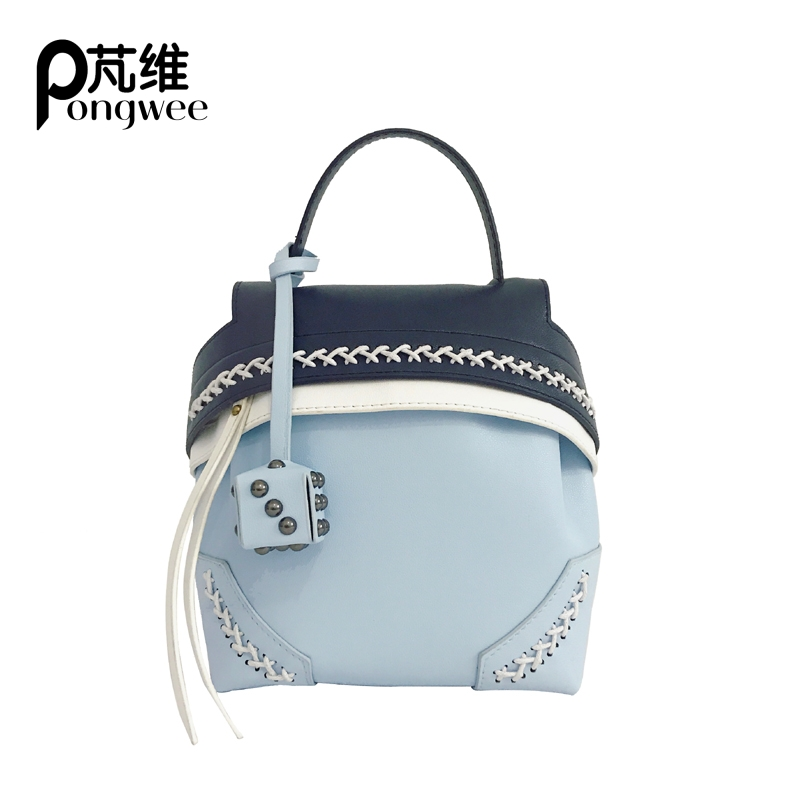 PONGWEE 2017 Summer New Bags Europe and The United States Fashion Multi-use Package Ladies Hit Color Weaving Shoulder Bag hot fashion europe and the united states fashion oil wax kraft handbag vertical section zipper multi color ladies shoulder messe