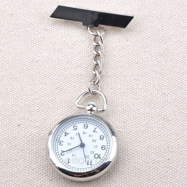 Unisex Watches Fashion Silver Arabic Number White Round Dial Clock Pin Brooch Fi
