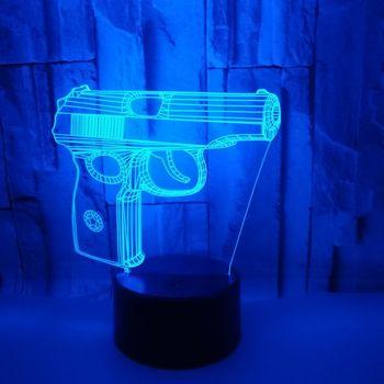 ピストルモデリング 3d 夜の光 7 カラフルなデスクランプタッチコントロール Led 可視光テーブルランプリビングルームのための