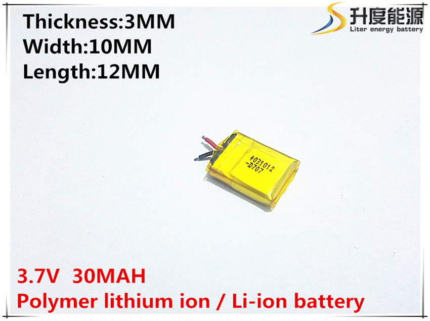 цена на 5 pcs 3.7V 30mAh Lithium Polymer Li-ion Rechargeable Battery lipo battery For Mp3 Mp4 PAD DVD DIY bluetooth headephone 301012