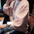 2017 Mujeres Harajuku Sudaderas Con Capucha de Manga Larga Casual Sólido de Lana Rosa de Invierno Con Capucha Para Mujeres Jerseys Sudaderas Mujer