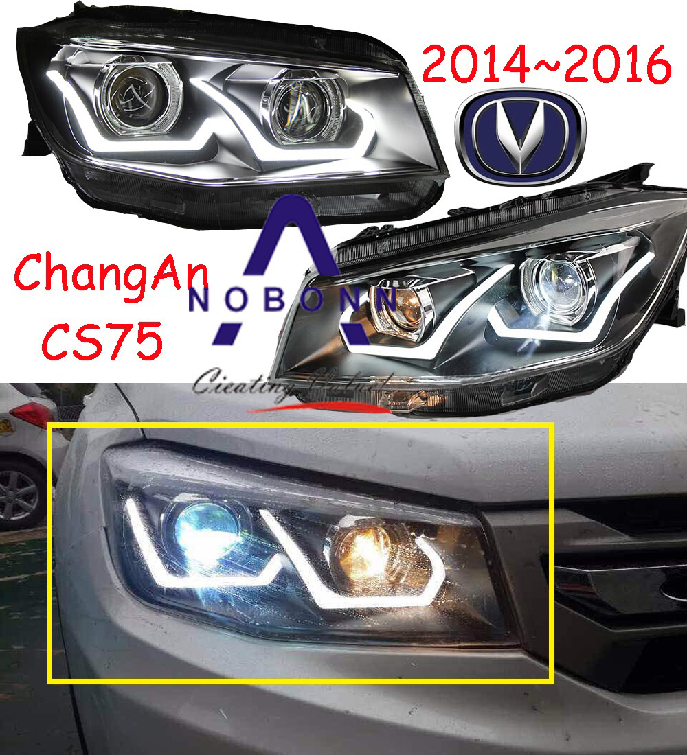 ChangAn CS75 headlight,2014~2016,Fit for LHD,Free ship!CS75 fog light,2ps/set+2pcs Aozoom Ballast;CS35,CS75 mitsubish grandis headlight 2008 fit for lhd