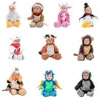 De noël Salopette Bébé Vêtements Forme Animale Lion Singe Pingouin Dinosaure Siamois Halloween Bébé Costume