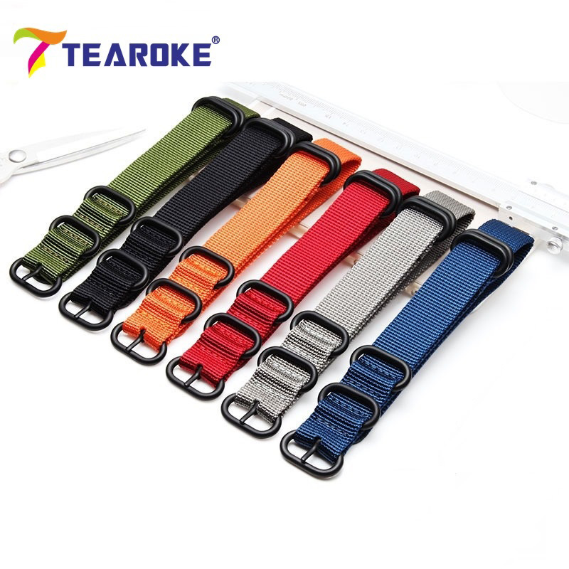 TEAROKE Heavy Duty Nylon NATO Watchband Strap 18mm 20mm 22mm 24mm Watch Band Zulu Strap Stainless Steel Ring Buckle Canvas Army