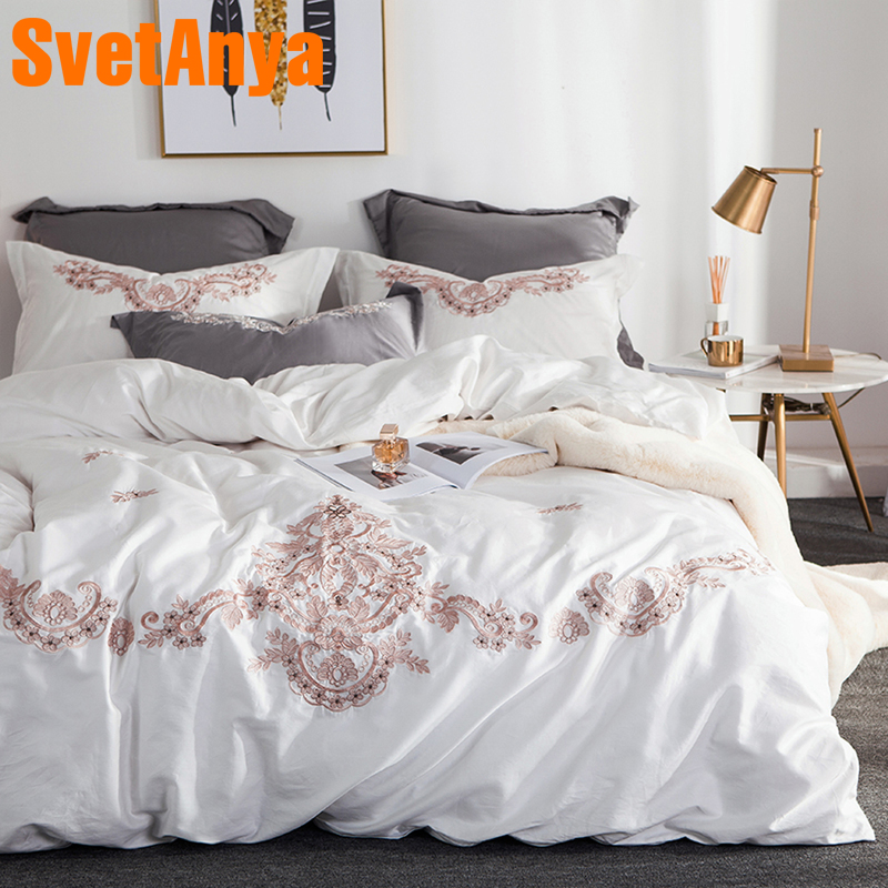 Svetanya White Embroidered Bedding Sets Queen King Size Bedlinen egyptian Cotton ( Sheet Pillowcase Duvet Cover Set )Svetanya White Embroidered Bedding Sets Queen King Size Bedlinen egyptian Cotton ( Sheet Pillowcase Duvet Cover Set )