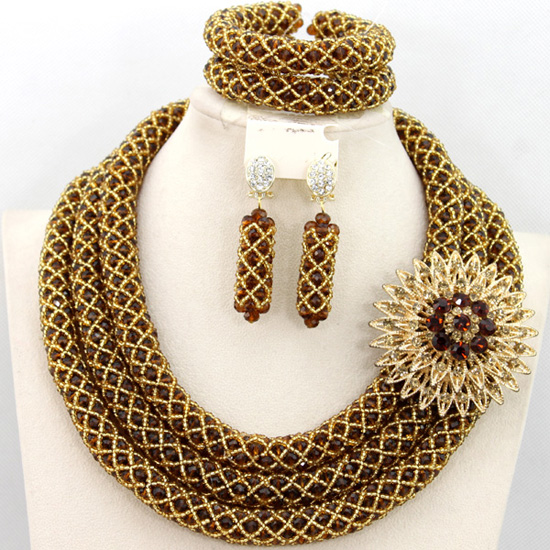 2016 HOT Nigerian Wedding Bridal Necklace Set Brown Crystal Beads Jewelry Set African Costume Jewelry Set Free Shipping AMJ608