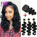 3 Bundles Brazilian Body Wave With Closure 7A Unprocessed Brazilian Virgin Hair With Closure Wavy Human Hair With Lace Closure