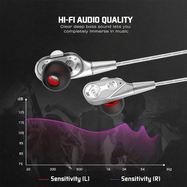 Dual Drive Stereo Bass Wired Earphone In-ear Headset 2