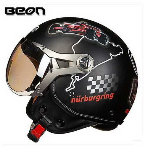 2016 FASHION Genuine BEON half face motorcycle helmet ABS half cover style Retro Air Force Harley style motorbike helmets B-100 2017 summer new half face beon child motorbike helmet abs b 103etk children motorcycle helmets for boys girls for four seasons