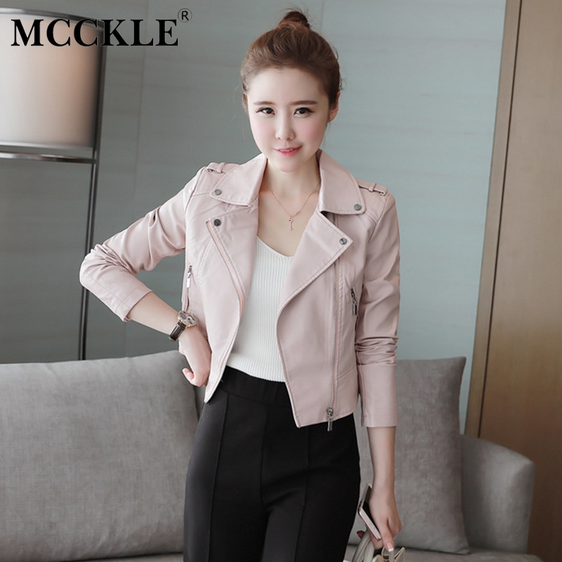 MCCKLE 2018 New Autumn Women Faux   Leather   Jackets Zipper Soft PU   Leather   Short Coat Female Slim Pink Motorcycle Jacket Outerwear