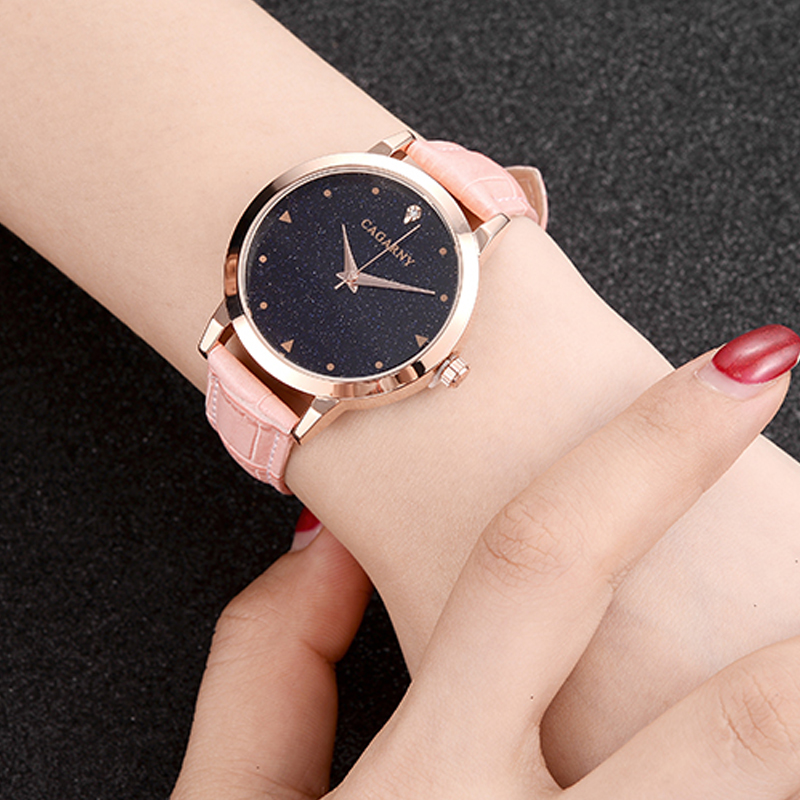 luxury brand cagarny quartz watch for women blue sky dials creative casual ladies watches rose gold case drop shipping (52)