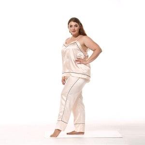 Image 4 - JULYS SONG Women Sleepwear Pajama Set Big Size Sleeveless Pyjamas Faux Silk Nightwear Sling And Pants Sleepwear Stain Homewear