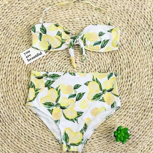 840a26075db7f Cheap bikini set swimwear bikinis 2018 swimming suit for women lemon printed  sweety push up high