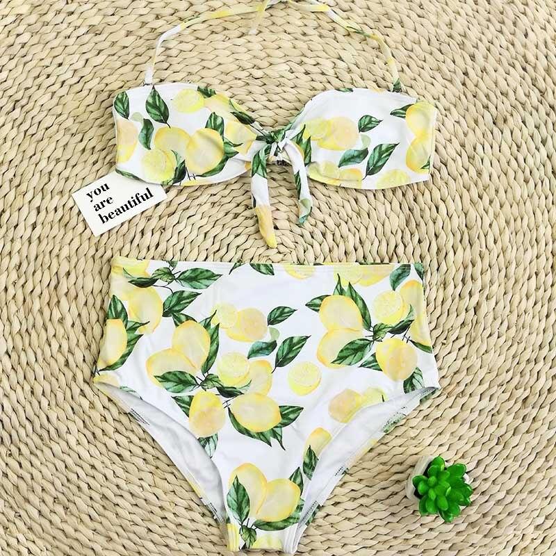 3afe8da8fa bikini set swimwear bikinis 2019 swimming suit for women lemon printed  sweety push up high waist bathing swimsuits GYY02