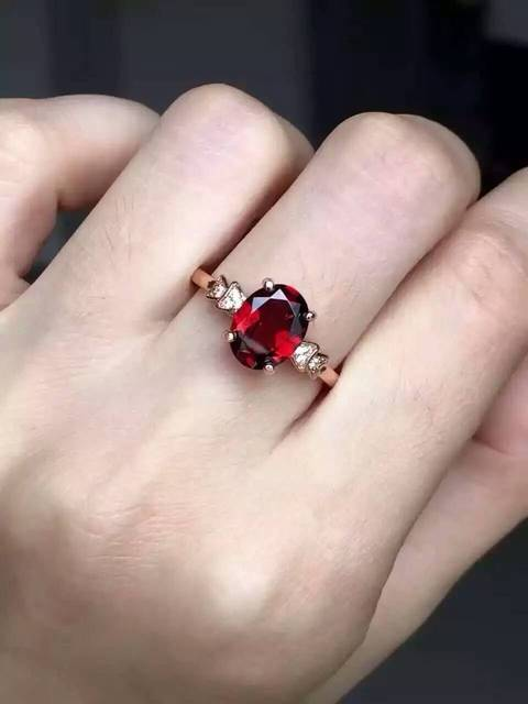 Natural red garnet gem Ring Natural gemstone Ring 925 sterling silver trendy elegant Simple compact round women party Jewelry