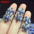 Real azul tanzanita anillo de 925 anillos de plata de ley 100% natural gem stone joyería de la mujer