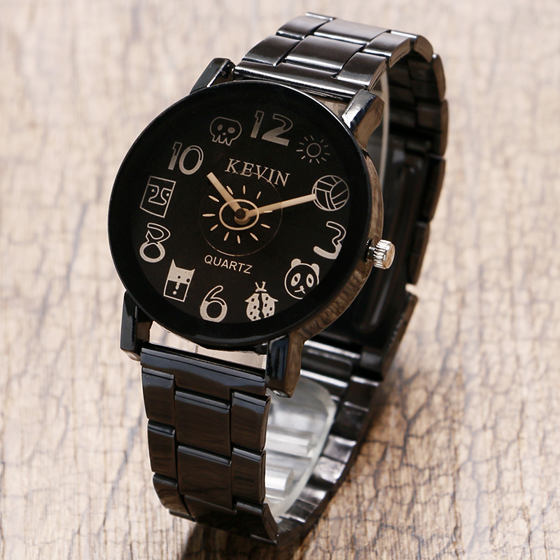 KEVIN New Analog Casual Round Dial Women Cute Novelty Cartoon Fashion Stainless Steel Band Strap Quartz Wrist Watch