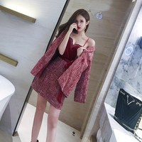 Autumn Runway Tweed 2 Piece Set Dress Designer Winter Women Red Long Jacket Coat Mini Velvet