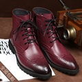 2016 otoño nuevos hombres de la Moda martin botas botines de cuero de buena calidad para hombre brogue tallado botas de cuero genuino