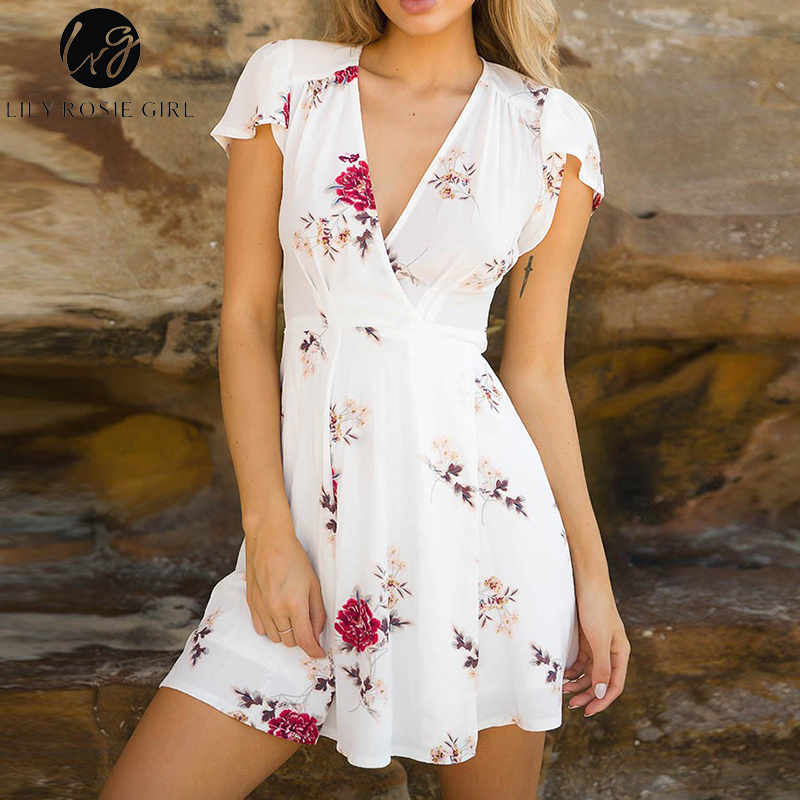 14a64c6f5443f US $25.98 |Lily Rosie Girl Red Floral Print Deep V Neck Mini Dress Women  Boho Summer Beach Sexy Party Short Warp White Dresses Vestidos-in Dresses  ...