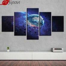 Картина на холсте для гостиной Декор 5 шт Вселенная планета