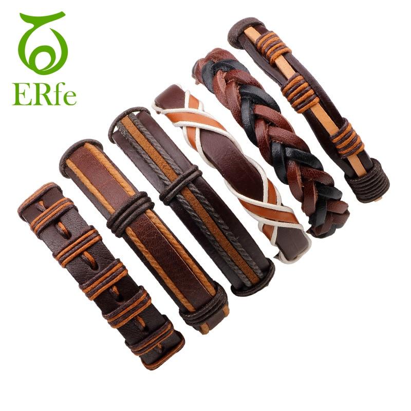 ER 6pcs Brown Wrap Real Leather Bracelet Men Braided Braslet Male Cuff Friendship Bracelets Pulseira Masculina Bracciale LB005