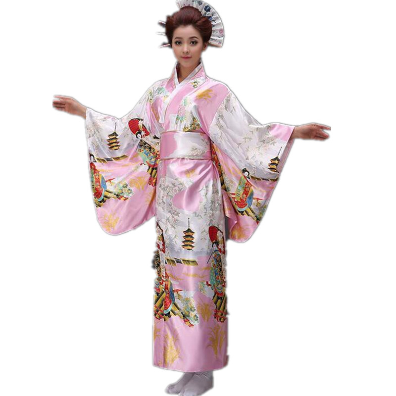 Pink Woman Lady Japanese Tradition Yukata Kimono With Obi Flower Vintage Evening Dress Cosplay Costume One Size