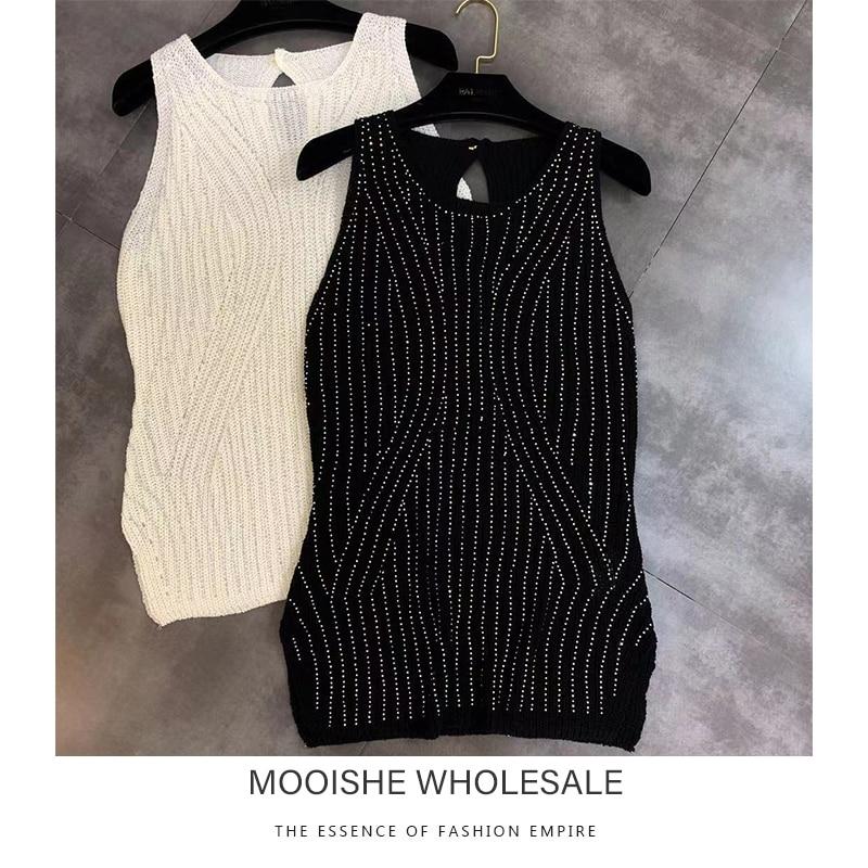 Beading Stripe Women Knit Tank Tops Sleeveless White Black Spring Tops