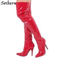 Sorbern красный Лакированная кожа продажи Женские ботфорты Высокие каблуки пользовательские Цвета 2018 Для женщин Pole Dance Сапоги и ботинки для де