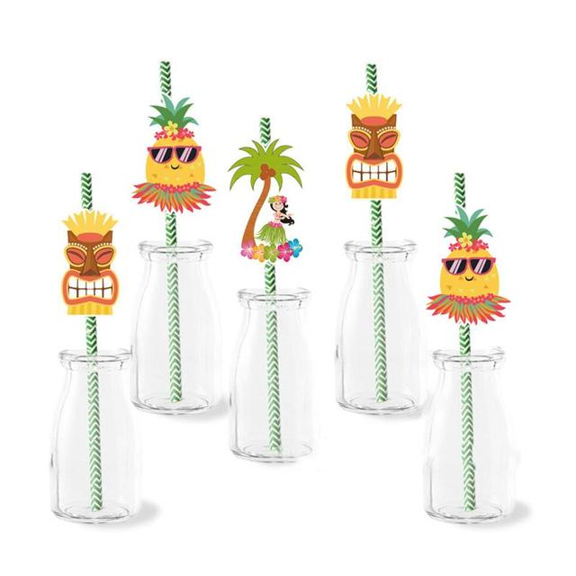 Tropical Drinking Paper Straws Set for Hawaiian Summer Beach Pool Bar Club Birthday Wedding Party Decorations