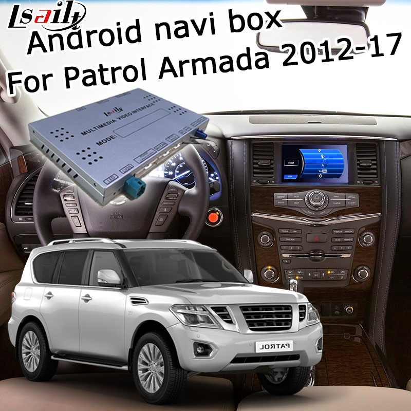 Lsailt Android GPS navigation box for Nissan Patrol Armada 2012 2017 high end, with Pathfinder Quest Elgrand 370z etc
