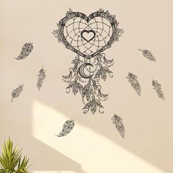 Pegatinas de atrapasueños para pared de corazones negros, pegatinas de pared de salón para dormitorio con plumas artísticas, Mural autoadhesivo extraíble dc18