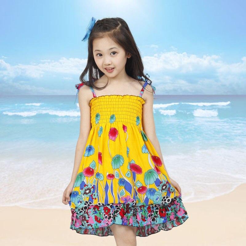 dívky šaty léto 2019 děti malé houby tištěné pláže dívka šaty nastavitelné ramenní popruh šaty roupas infantis menina