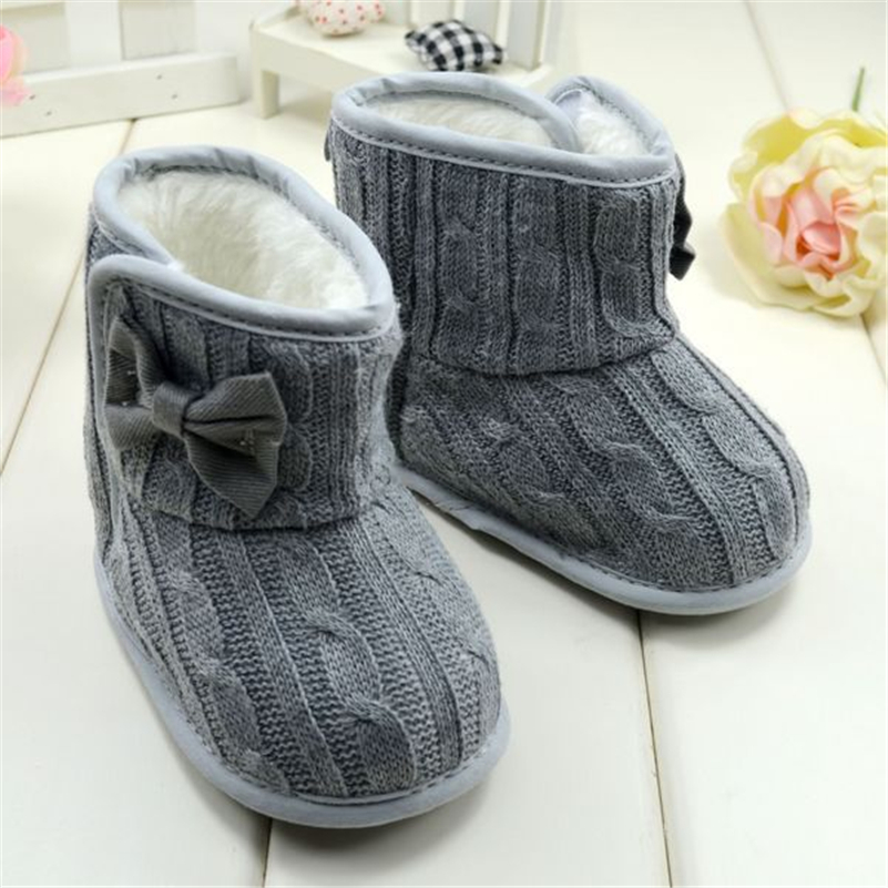 Baby Girl Strikket Støvler Bowknot Faux Fleece Soft Sole Sko Kids Woolen Yam Strikket Pels Vinter Sne Støvler