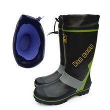 Резина с Сталь Гвозди дождь Сапоги и ботинки для девочек Для мужчин зимние Рыбалка Сапоги и ботинки для девочек Высокая водонепроницаемая обувь ПВХ Rainboot плоская Антискользящая плюс Размеры 46