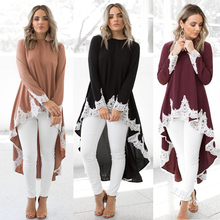 Women Autumn Solid Hooded Sweatshirt Lace Splice Hoodie Patchwork  Casual Pullover Long Sleeve Oversized Dress