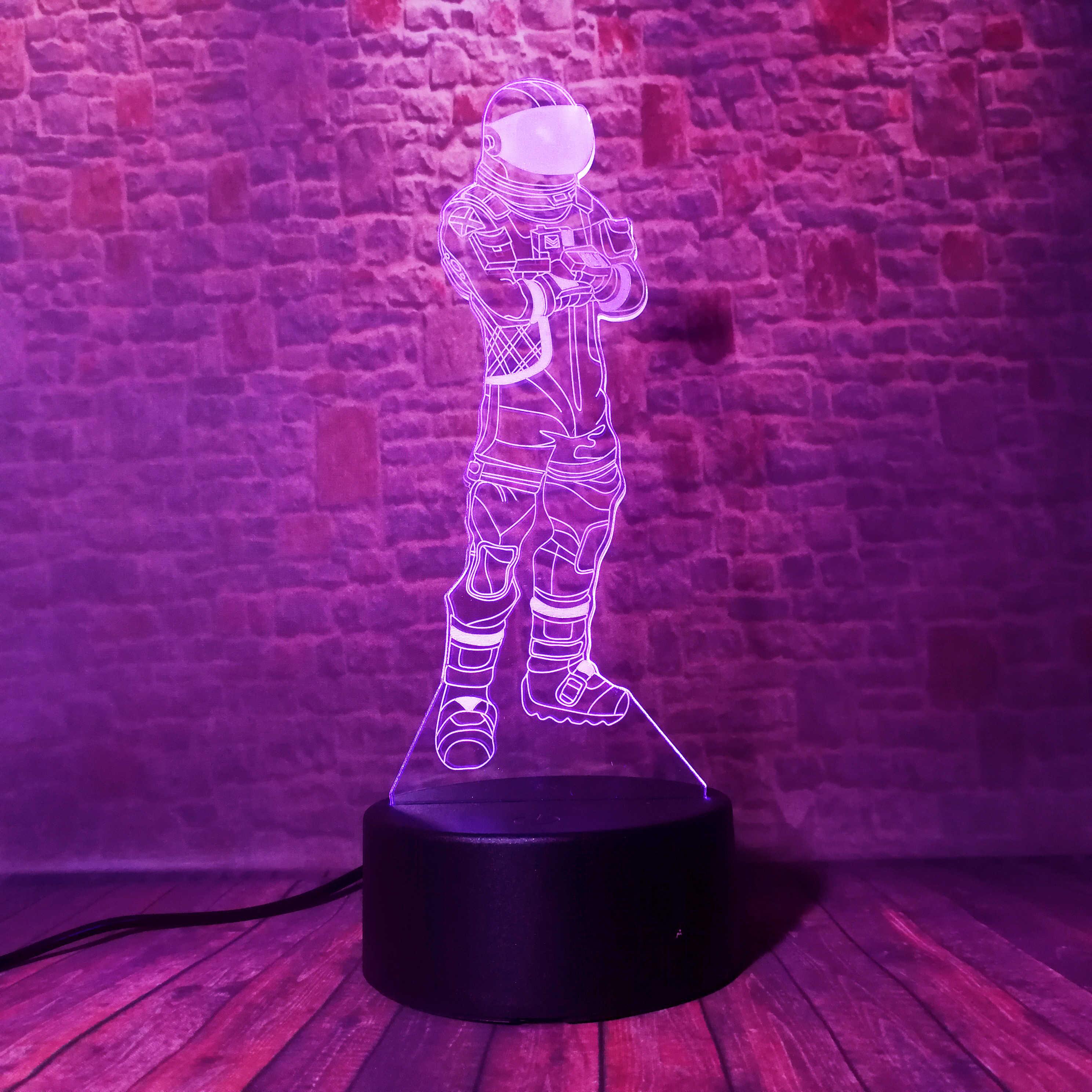 Горячая игра Темный Вояджер TPS крутой бой рояль Мальчик ночник 3D RGB 7 красочная Светодиодная лампа настроения на день рождения праздник рождественские подарки