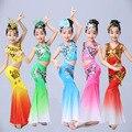 Los niños de la muchacha traje chino de la ropa de la danza trajes de la etapa para las mujeres étnico Dai pavo real vestido de la danza ropa de baile