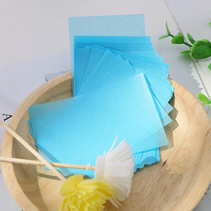100Pcs/Bag Facial Tissue Papers Blue Film Oil Absorbing Control Face Blotting Cleaning Papers