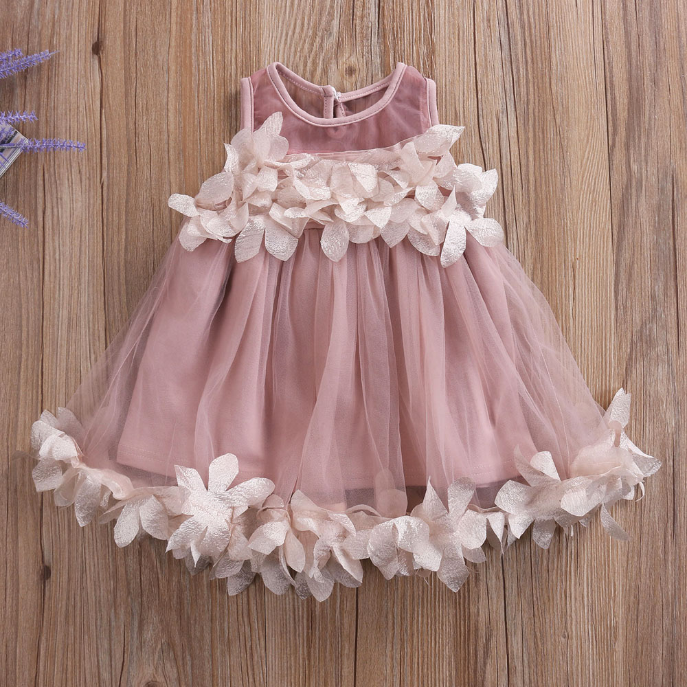 Flower Kids Baby Girl Princess Bridesmaid Petal Tulle Party Formal Dress Dresses flower kids baby girl clothing dress princess sleeveless ruffles tutu ball petal tulle party formal cute dresses girls