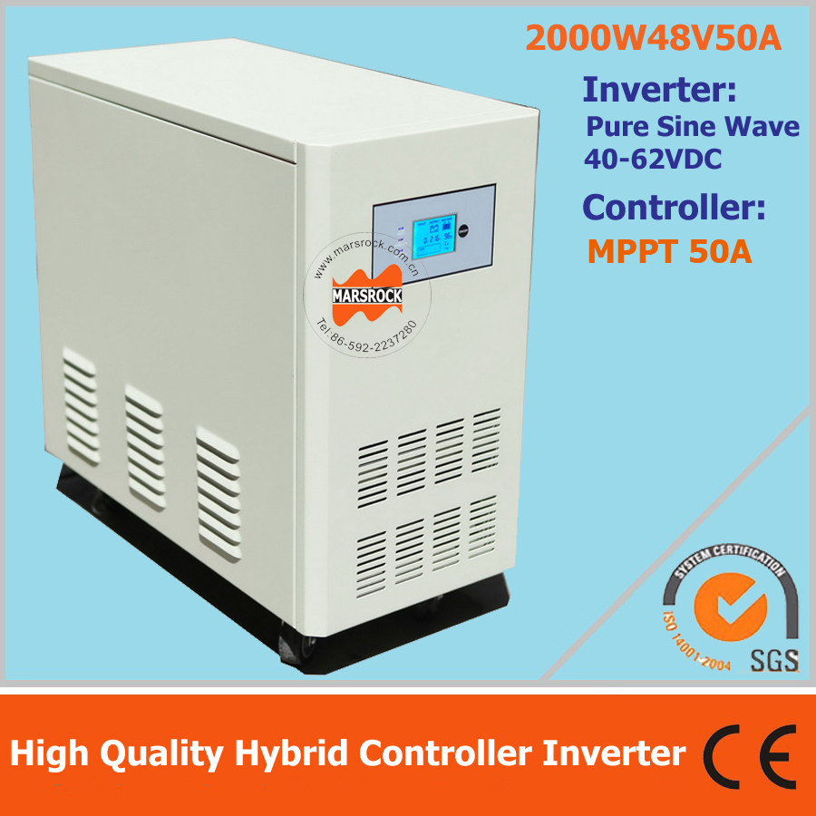 2000W 48VDC 50A hybrid MPPT controller inverter , UPS hybrid controller inverter for off grid solar system micro inverters on grid tie with mppt function 600w home solar system dc22 50v input to ac output for countries standard use
