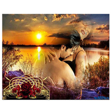 Lovers sunset diamond Embroidery diy painting mosaic diamant 3d cross stitch pictures H806