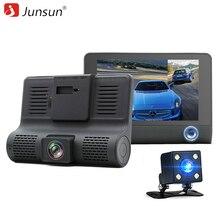 "Junsun 4.0 ""Cámara del coche DVR de Doble Lente con retrovisor Registrador tres cámara de visión Nocturna coche dvr de Vídeo Videocámara dashcam"