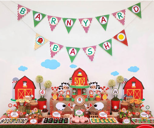 Farm Barn Yard Birthday Party Banner Farm Birthday Party Decorations Kids Birthday Party Decorations Supplies Farm Banner Flags