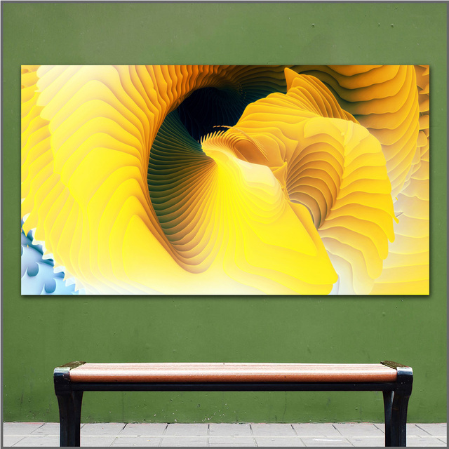 large size Printing Oil Painting spiral yellow beauty wall art ...