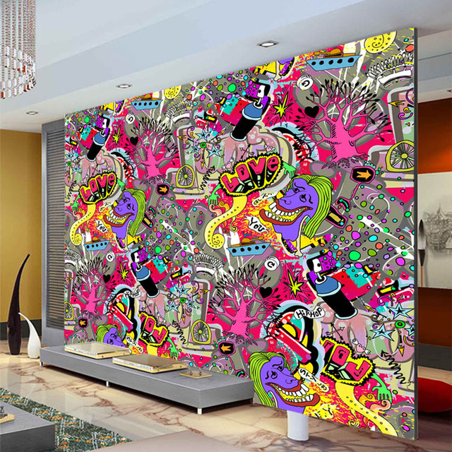 Buy graffiti boys urban art wallpaper 3d for Mural graffiti