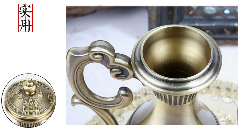 Retro Luxury Bronze Copper  Snifters Goblet Hip Flask Tray Engraving Shot Cup teaware Figurines Gift Home decor